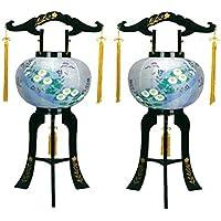 盆提灯 10号 対仕様(左右2台1組) 置き型 あかり 廻転灯付 高さ72cm 電気コード式 日本製 行灯 盆提灯 八女提灯