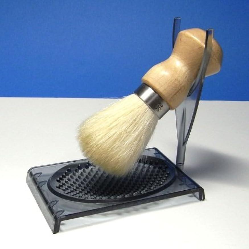 椅子能力入力シェービングブラシ 泡たてトレー付 ナチュラル 日本製
