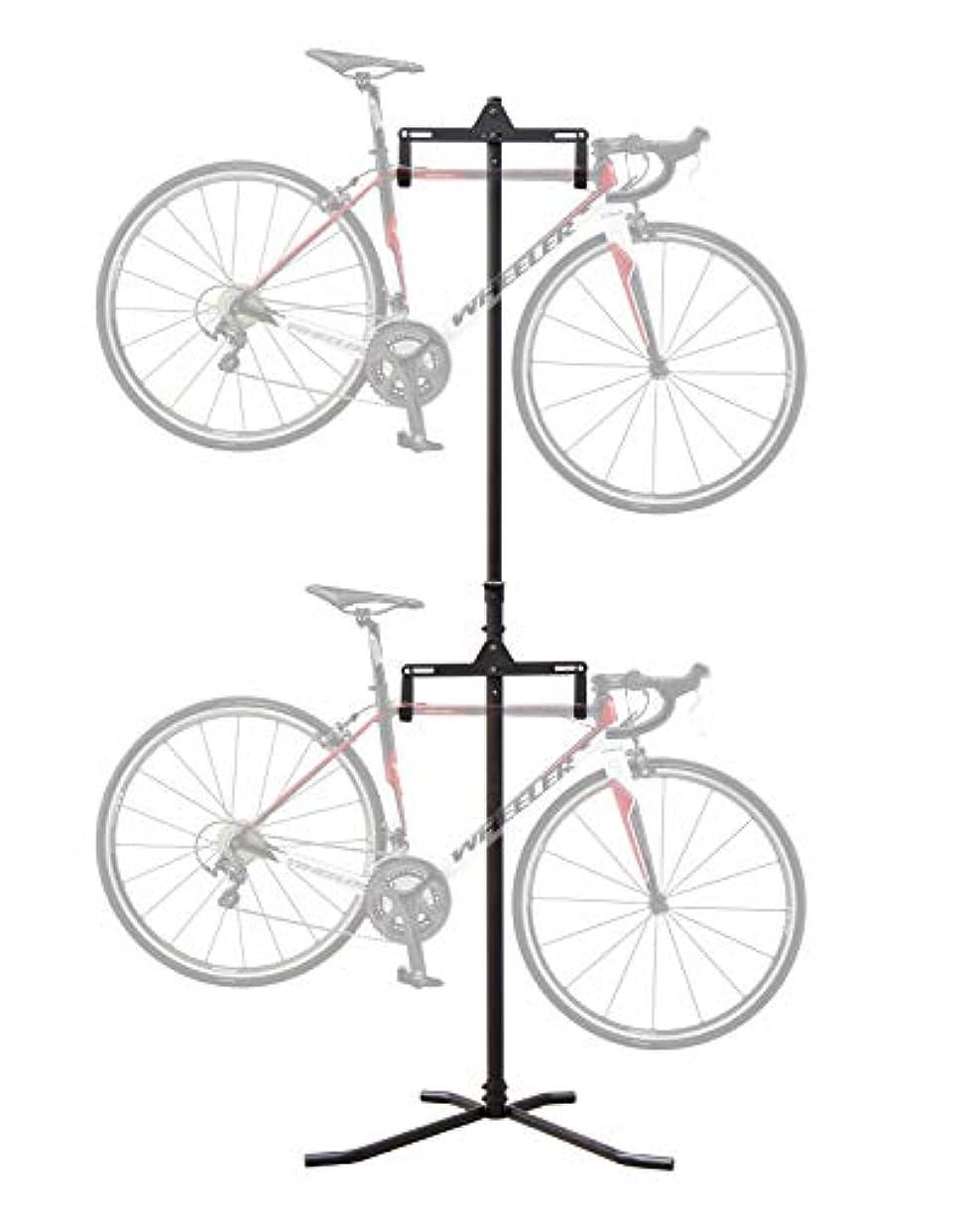 羊飼い週末感染する自転車スタンド ディスプレイスタンド バイクタワー サイクルスタンド 室内 2台 つっぱり式 ブラック