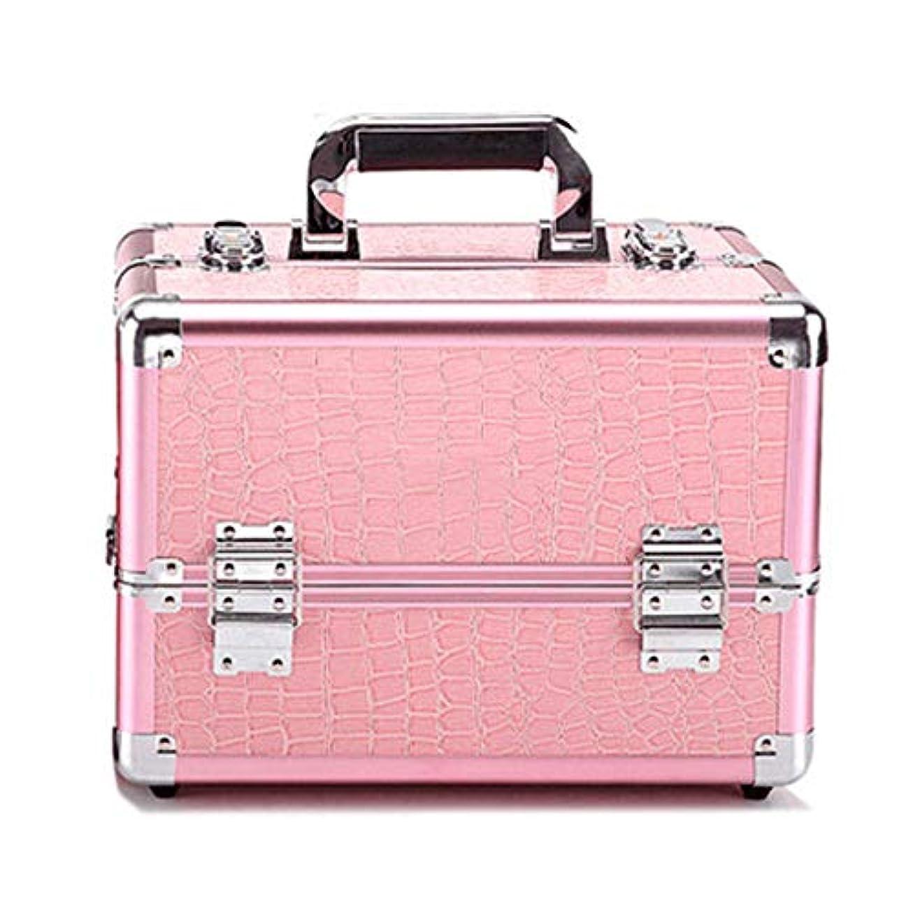 マザーランドブリリアント毎年化粧オーガナイザーバッグ プロフェッショナルアルミの美容ケースは、ネイル化粧箱ベニチオオーガナイザーのワニパターンをメイクアップ 化粧品ケース (色 : Pink(M))