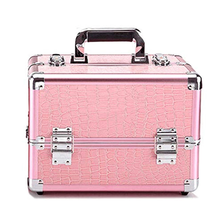 打たれたトラックサイバースペース東ティモール化粧オーガナイザーバッグ プロフェッショナルアルミの美容ケースは、ネイル化粧箱ベニチオオーガナイザーのワニパターンをメイクアップ 化粧品ケース (色 : Pink(M))