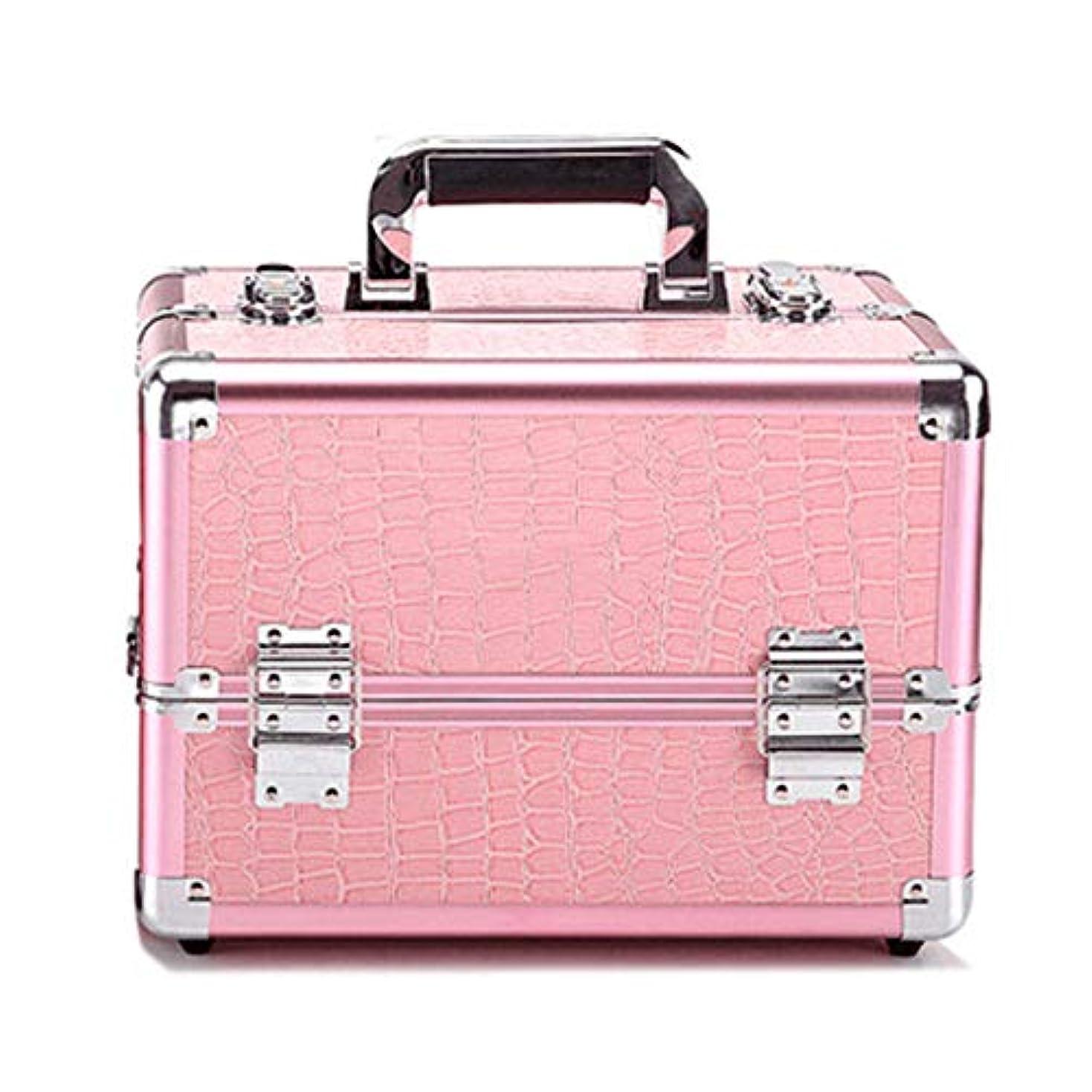 毛布徴収サイバースペース化粧オーガナイザーバッグ プロフェッショナルアルミの美容ケースは、ネイル化粧箱ベニチオオーガナイザーのワニパターンをメイクアップ 化粧品ケース (色 : Pink(M))