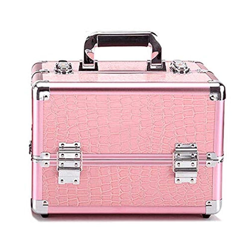 みすぼらしい羨望ファウル化粧オーガナイザーバッグ プロフェッショナルアルミの美容ケースは、ネイル化粧箱ベニチオオーガナイザーのワニパターンをメイクアップ 化粧品ケース (色 : Pink(M))