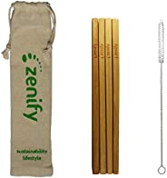 Zenify Bamboo Reusable Straws Set 4x20cm & Travel Bag + Cleaning Brush, Biodegradable Eco Friendly Compostable Drinking Stra