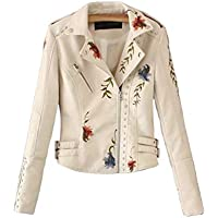 Sentaoa Women's Floral Embroidered Faux Leather Moto Jacket Coat Slim Fitted Zip Up Biker Short Jacket Outwear