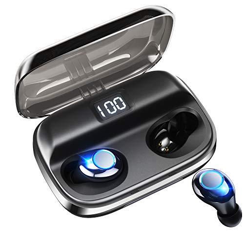 【令和モデル LEDディスプレイ Bluetooth イヤホン 】 ワイヤレスイヤホン 独立オン/オフ イヤホン 電池残量インジケーター付き 280時間連続駆動 イヤホン Hi-Fi 高音質 AAC対応 最新bluetooth 5.0+EDR搭載 完全ワイヤレスイヤホン 左右分離型 自動ペアリング Siri対応 / IPX7防水 / iPhone & Android対応 (ブラック)