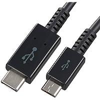 (超急速充電?次世代コネクタ) スマートフォン用 USBタイプCケーブル 1m オーム電機 SMT-L10CM-K