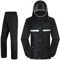 BYWSD Raincoat Rain Pants Suit, Men and Women Split Anti-Storm Raincoat Jacket Thickening Whole Body Waterproof (Color : Black, Size : XXXL)