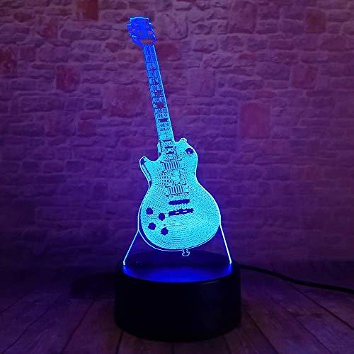 周囲光、 イリュージョンベッドサイドテーブルランプ7色の変更の夜ライトはリモコンテーブルランプ子供は装飾ビットコインを優先します (Color : 3d Bass Music Guitar)