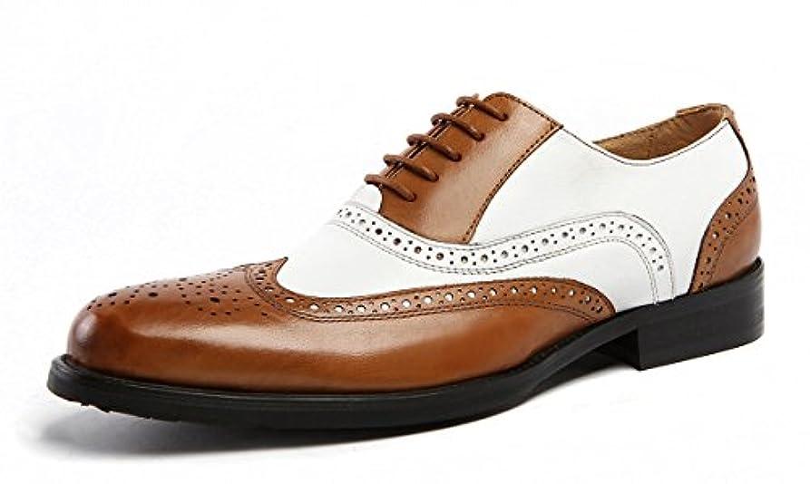 音節便利さ印象的SERDAOMANI 商標登録102874 メンズ ビジネスシューズ レザー  本革 革靴 ウイングチップ 配色切替 オックスフォードシューズ パーティー靴 ビンテージ レースアップ メダリオン 紳士靴 定番のシューズ...