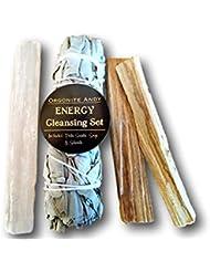 ogoniteアンディ?エネルギークレンジングセット – カリフォルニアホワイトセージバンドル、2 Palo Santoスティック、Raw砂漠のクリスタルWand – Smudgeキット – Natural Herbal...