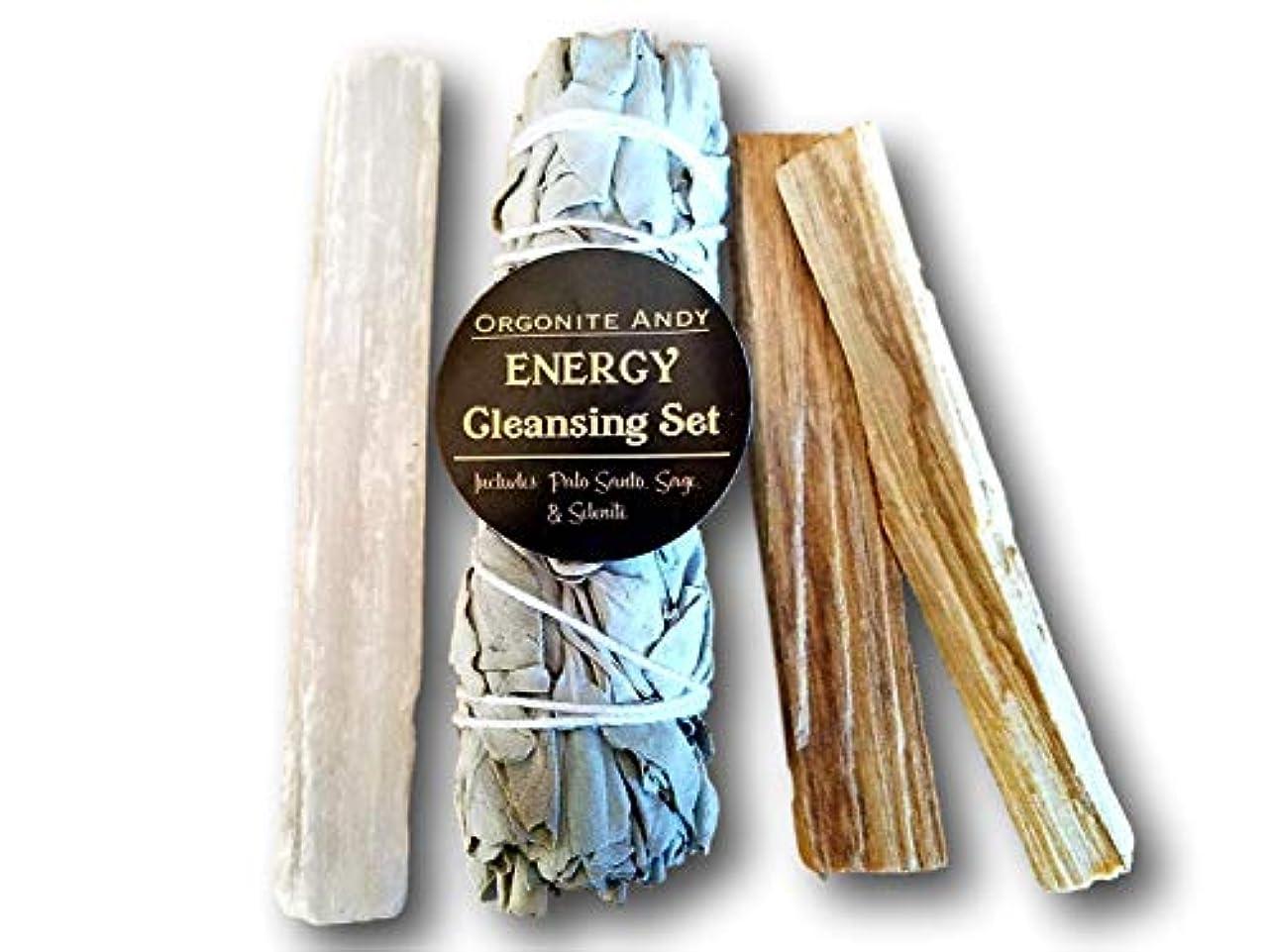 薄める努力置くためにパックogoniteアンディ?エネルギークレンジングセット – カリフォルニアホワイトセージバンドル、2 Palo Santoスティック、Raw砂漠のクリスタルWand – Smudgeキット – Natural Herbal...