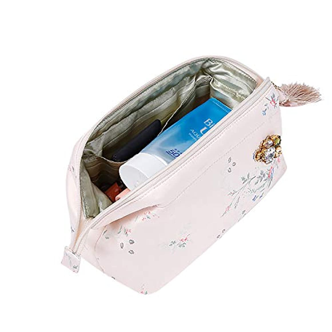 浸漬熟した手配するRownyeon 上質 メイクポーチ 大容量 花柄 化粧ポーチ コスメポーチ ブラシいれ付き 携帯用 和風 ピンク おしゃれ 可愛い 機能的 バニティポーチ プレゼント