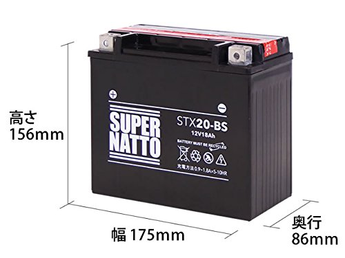 SUPER NATTO / STX20-BS (互換型番 65991-82B 65991-82A 65991-75C) ハーレー用 バッテリー 密閉型 MF