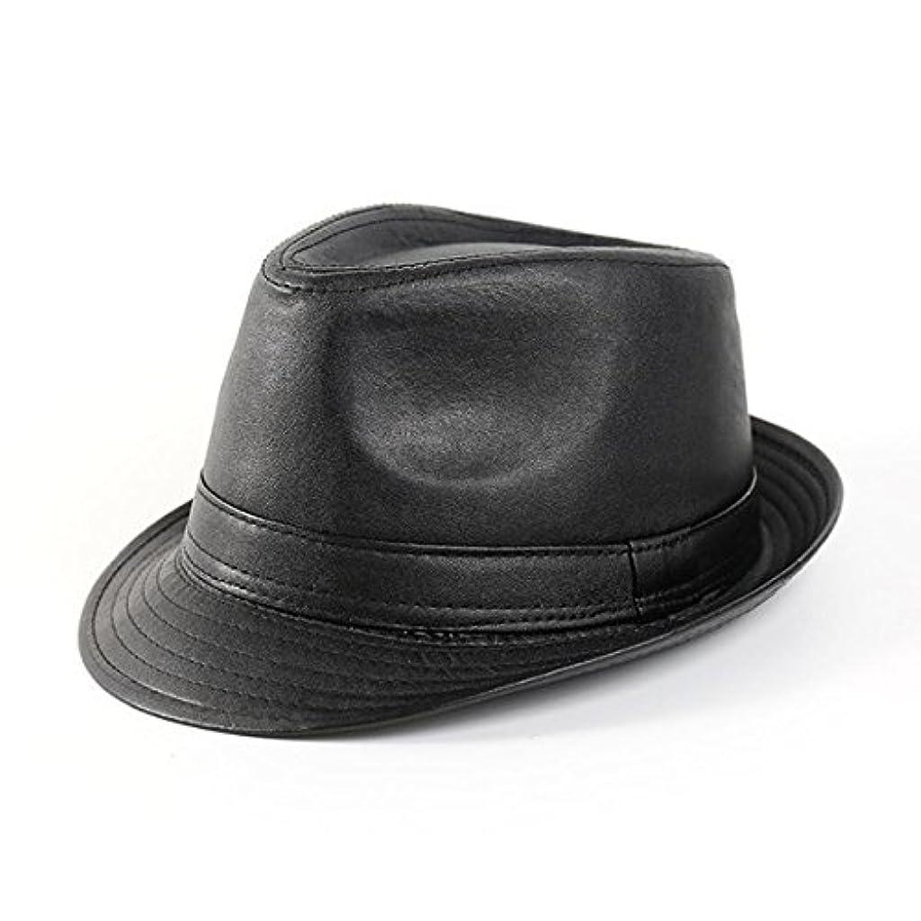 ひねり心配ベーシックSENREAL 帽子 メンズ レディース ビンテージ レザー ボーラー ジャズキャップ ブラック カジュアル ショートつば 紳士用帽子