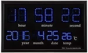Felio(フェリオ) デジタル壁掛け時計 アギラ ブルーLED表示 カレンダー・温度表示 ブラック FEW120BK