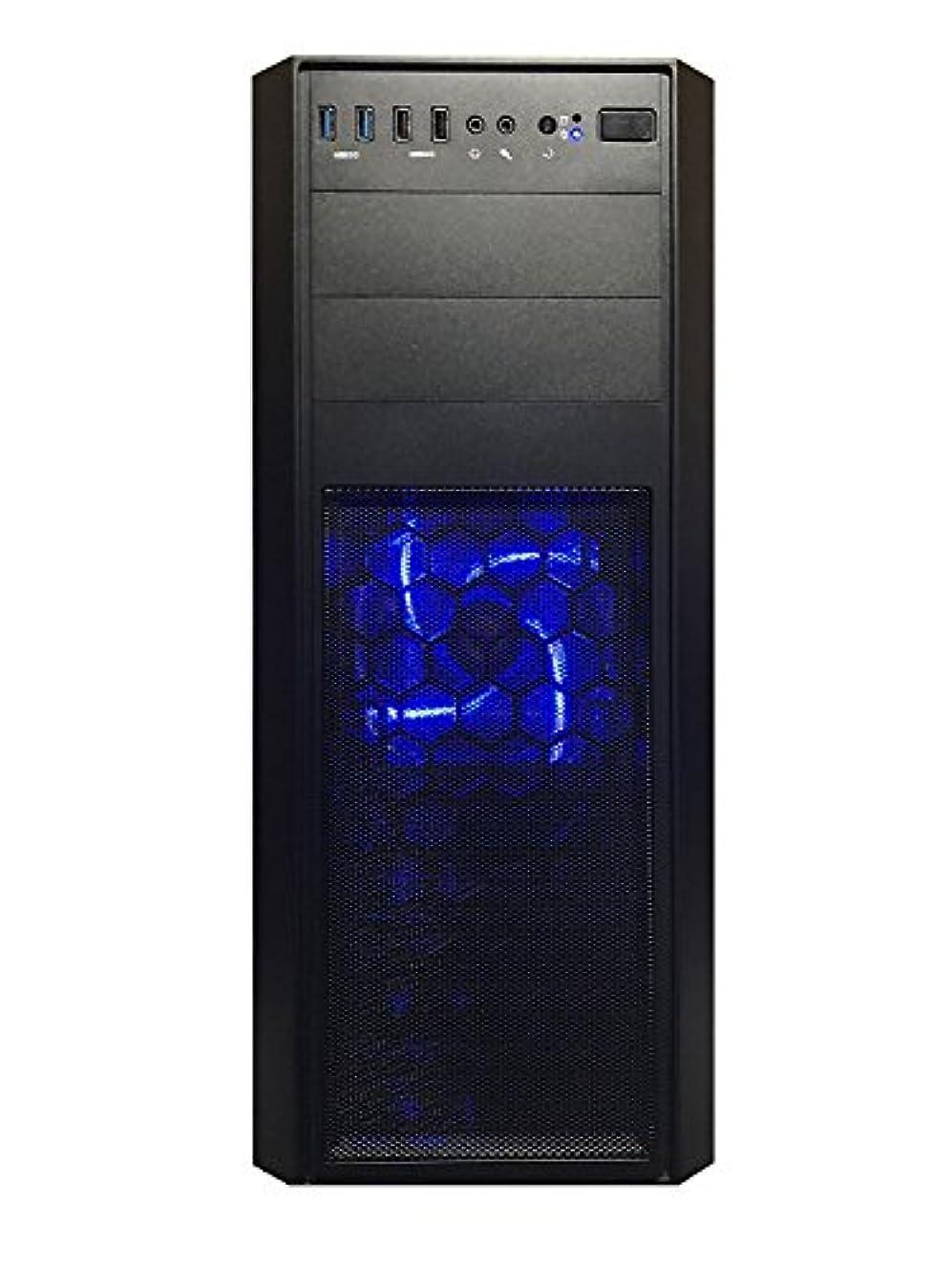 確立部族堀★ゲーミングデスクトップPC 次世代Ryzen5 2600プロセッサー搭載モデル/DDR4-8GB/HDD1TB/office/USB3.0対応/Win10/ゲーミングパソコン GTX1050Tモデル, ブラック&青色LED