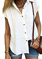 Keaac Womens Summer Button Down Shirts Pocket Short Sleeve Blouse Tops White S