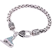 3D Turquoise Crystal Ice Skate Figure Skating Charm Bracelet Bangle for Girls Fashion Jewelry