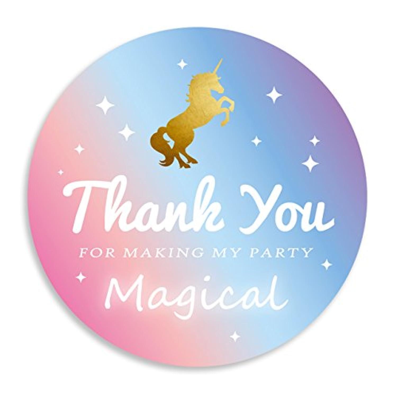 ステッカー 金馬 マジカル パーティー シール 感謝 thank you magical ピンク 飾り 可愛い 丸い 女の子 42セット