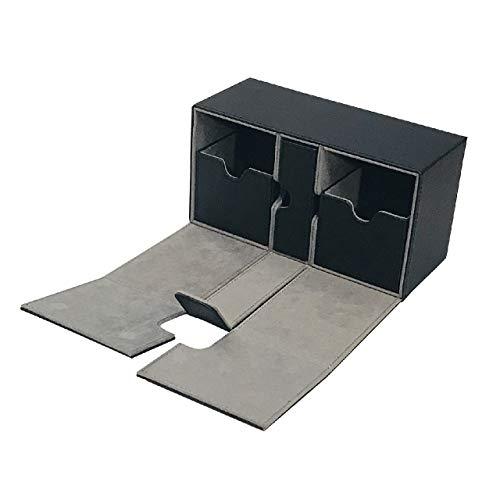 [Cicogna] トレカ カードデッキ レザー ケース 選べる4タイプ トレーディングカード ストレージボックス デッキホルダー 収納 Mシリーズ (タイプD: ブラック)