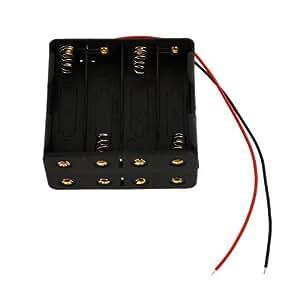 SODIAL(R) 8pcsAA電池(12V)クリップホルダー 黒いケース