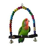 ふく福 ウッドインコオウム止まり木 噛む玩具 鳥のおもちゃ ケージ飾り 鈴付き 吊り下げ式