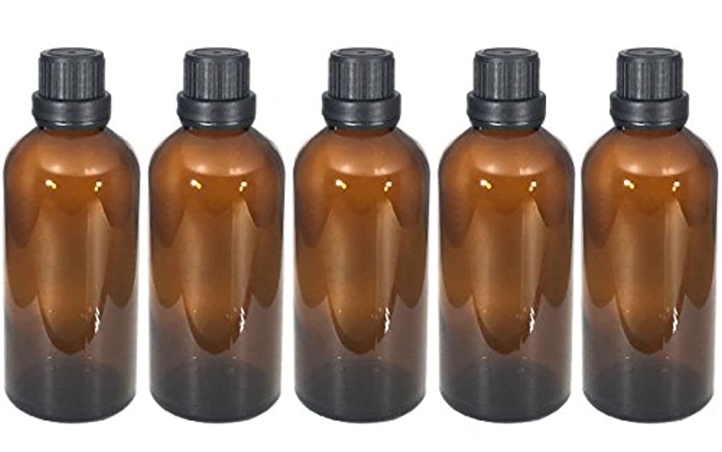 誘導百科事典郵便遮光瓶 100ml 5本セット ガラス製 アロマオイル エッセンシャルオイル 保存用 茶色 ブラウン