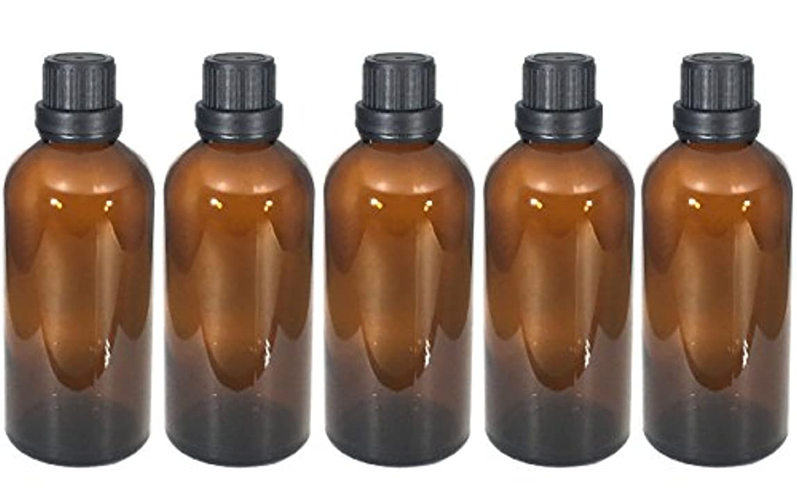 コーナー医学ライセンス遮光瓶 100ml 5本セット ガラス製 アロマオイル エッセンシャルオイル 保存用 茶色 ブラウン