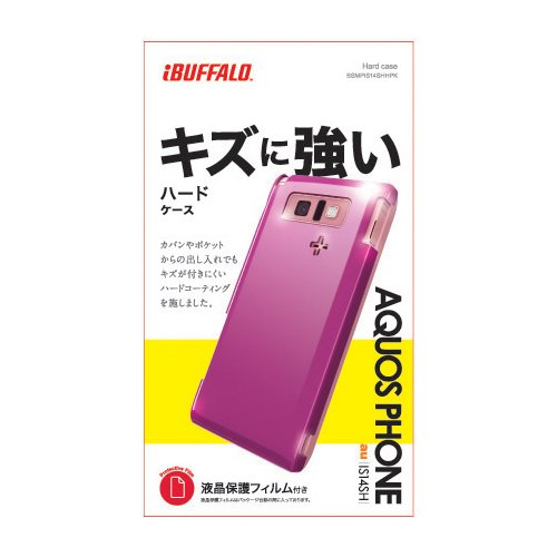 iBUFFALO au AQUOS PHONE IS14SH 3Hハードケース液晶保護フィルム付 ピンク BSMPIS14SHHPK
