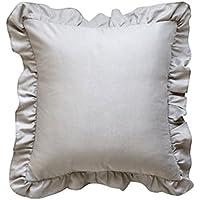 クッションカバー 45×45cm おしゃれ ピローケース ホワイト フリル付き 結婚式 12色 (ライトグレー, 45×45cm)