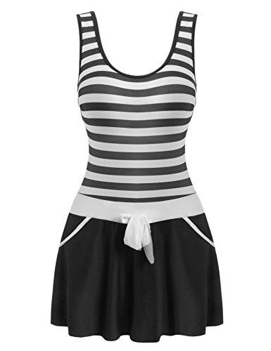 [해외]Ekouaer (에카와아) 수영복 숙녀 비키니 국경 줄무늬 연체 식 수영복 스커트 붙여 리본 부착들이 배를 가로막는 원피스/Ekouaer (Ekawawa) Swimwear Ladies Bikini Border Stripe Coalition Swimwear Skirt with Ribbon Includes One Piece to Block...