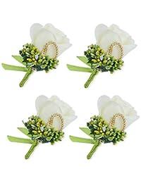 (Ivory) - YSUCAU Rose Silk Corsage/Boutonnieres, Handmade Groom Groomsman Best Man Wedding Flowers, DIY Flowers...