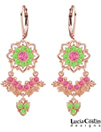 European Inspired Chandelier Earrings by Lucia Costin with Pink, Light Green Swarovski Crystals and Cute Charm...