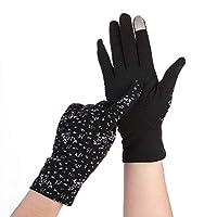 BAJIMI UVカット手袋 手触りが良い ファッション女性の手袋綿ストレッチ中空通気性の紫外線保護日焼け止め手袋 夏 ハンド ケア レディース/メンズ (Color : Black, Size : L-Ten pairs)