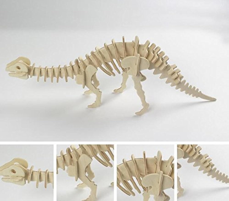 HuaQingPiJu-JP クリエイティブ木製3Dパズルアーリーラーニング恐竜おもちゃ子供のための素晴らしいギフト(ブロントサウルス)