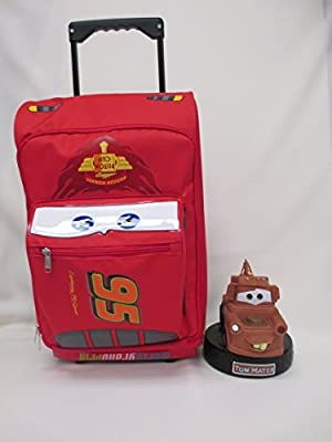 Cars カーズ Disney ディズニー Lightning Mcqueen 3D Shape Large 17 Rolling Luggage Book Bag & 8