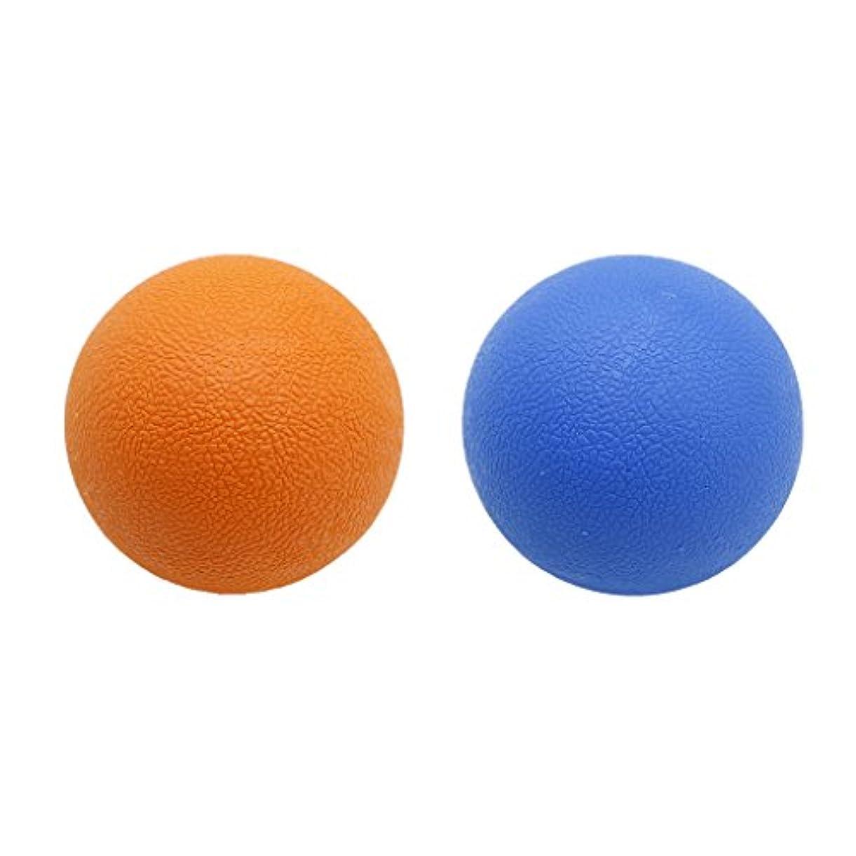 Perfk 2個 マッサージボール ストレッチボール トリガーポイント トレーニング マッサージ リラックス 便利 多色選べる - オレンジブルー