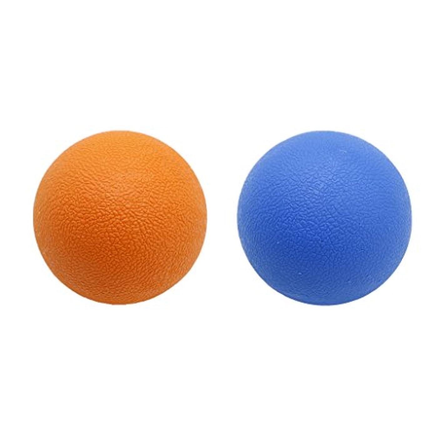 ルネッサンス忍耐退屈な2個 マッサージボール ストレッチボール トリガーポイント トレーニング マッサージ リラックス 便利 多色選べる - オレンジブルー