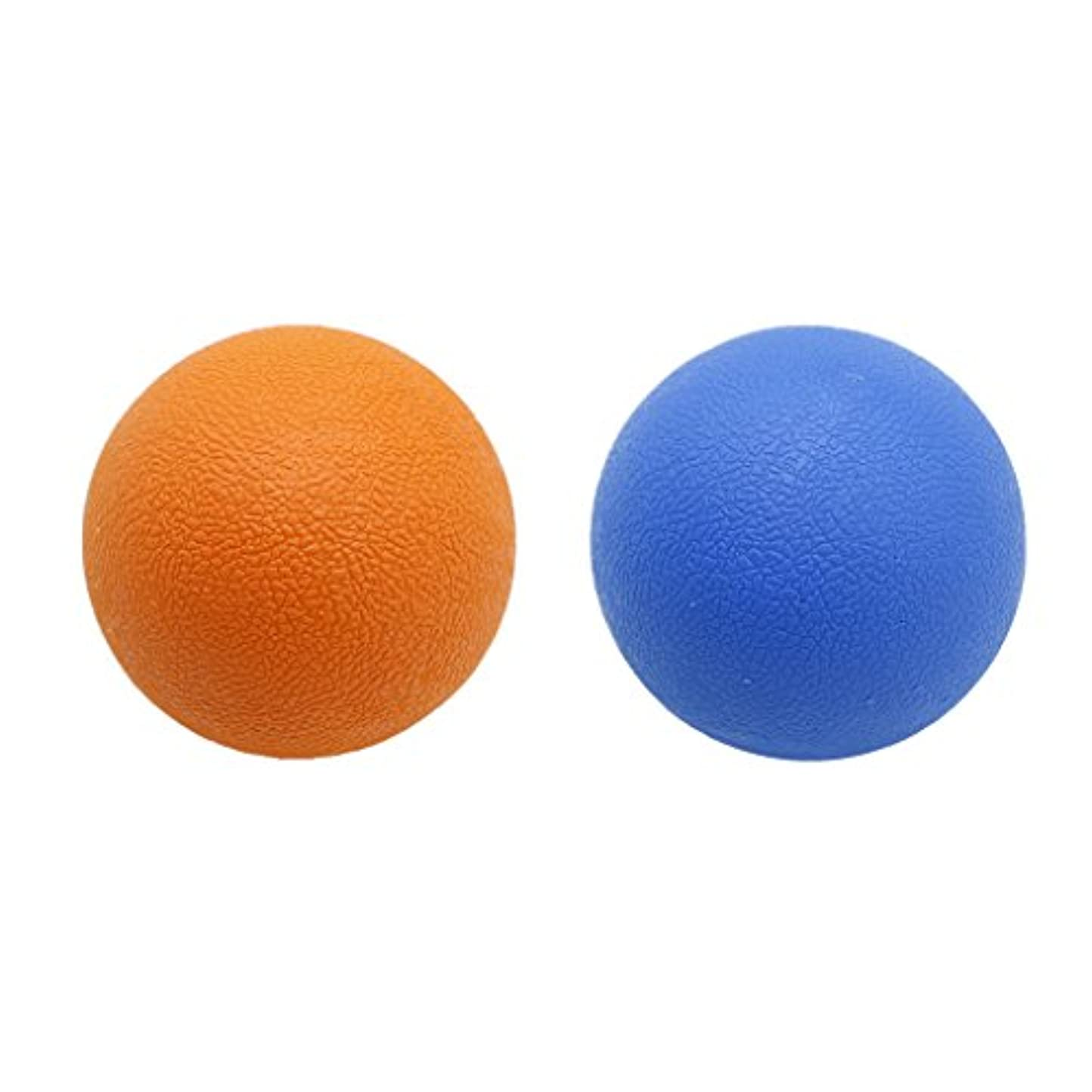 こんにちはドラフトたらい2個 マッサージボール ストレッチボール トリガーポイント トレーニング マッサージ リラックス 便利 多色選べる - オレンジブルー