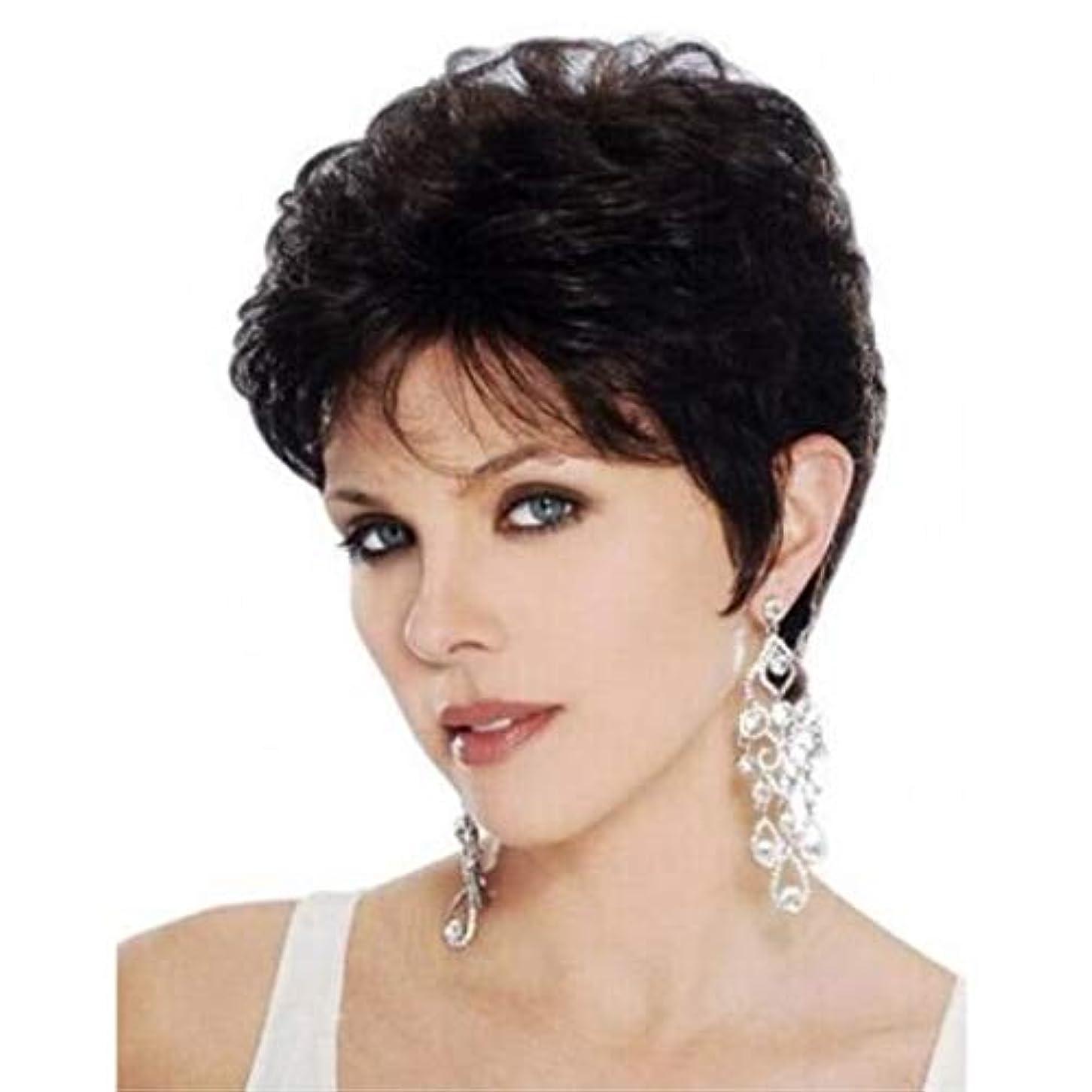 クラフト頭蓋骨優れたSummerys 女性のための耐熱性耐熱性ショートストレートウィッグ高温ワイヤー自然 (Color : Black)