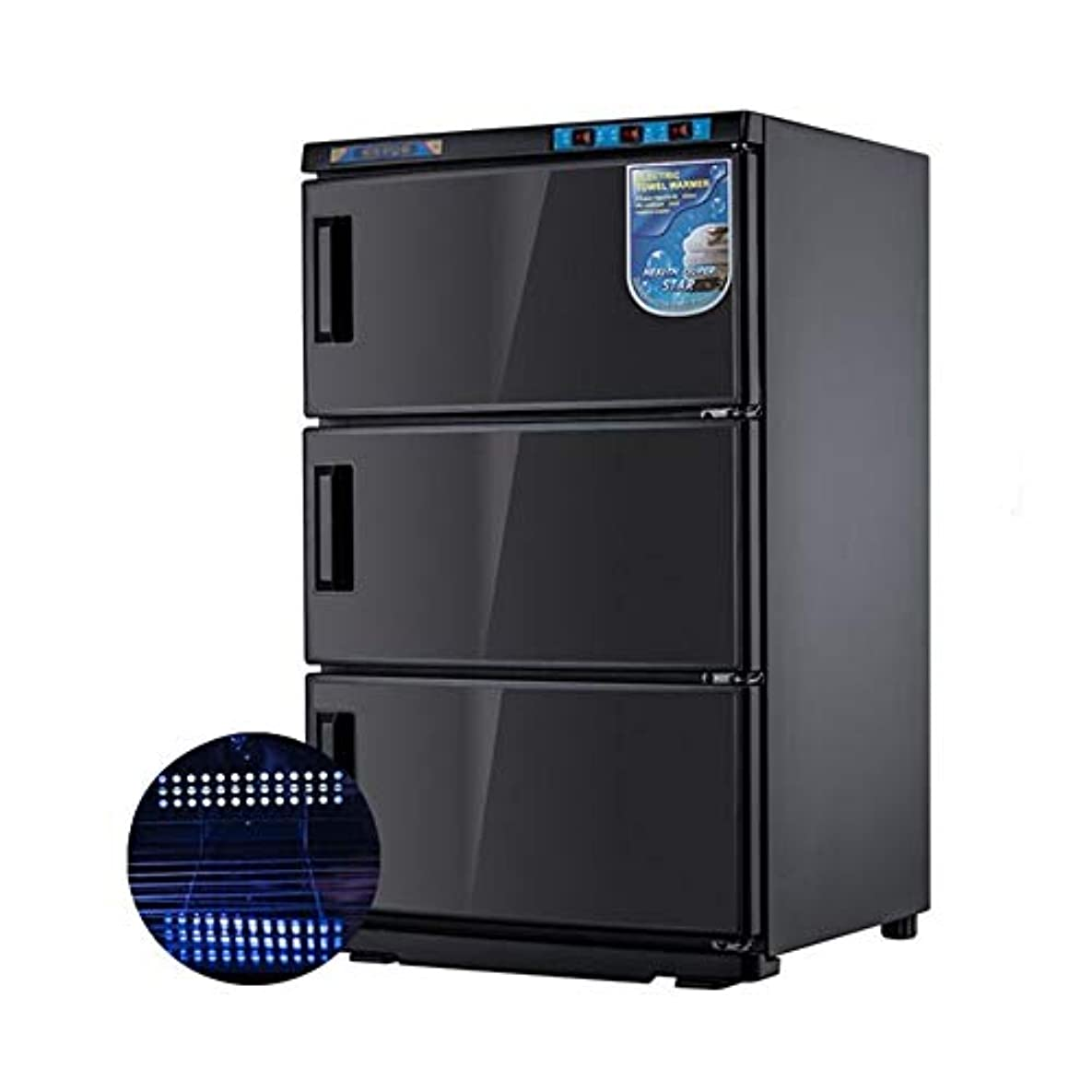 エレクトロニックこっそり真似る2in1 75L UV滅菌器ホットタオルウォーマーキャビネットウェットタオルヒーターフェイシャルスキンSPAマッサージヘアビューティーサロン機器(ブラック)