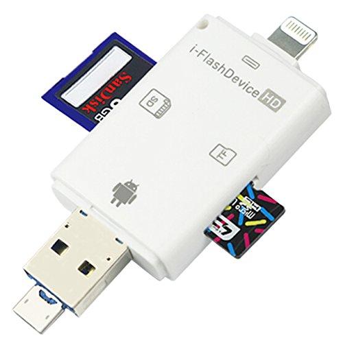 IRUN 正規品 カードリーダー iOS・Android対応 メモリーカードリーダライタ iPhone /Micro USB/USB全対応メモリーカードリーダ iPhone/iPad/Android/コンピューター用 SD/TFカードリーダー 高速な写真とビデオ転送 microメモリSDカードリーダー