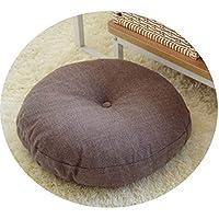 リネン布団クッションは、ラウンドファブリック床瞑想和風バルコニー窓の畳のクッション,ブラウンは取り外しできません,直径45cm、厚さ15cm
