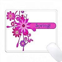 Word Springでかわいいピンクと青の花 PC Mouse Pad パソコン マウスパッド