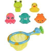 バスタブのおもちゃ かわいい 動物 ベビーバス おもちゃ 水吐き出し幼児のバスタブ 圧搾スクイズ 釣りネット おもちゃ 水ボール