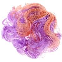 D DOLITY 人形かつら ウィッグ 波の髪 ヘアピース DIY素材 紫+ピンク 頭皮キャップ付