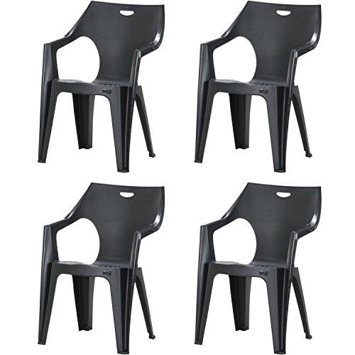 【ガーデン チェア セット 椅子 オシャレ プラスチック イタリア製】PCチェア アンジェロ4脚セット ブラック(C189-S3)
