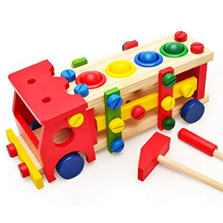 ベビー木製おもちゃツール 子供用 車 分解 テーブルゲーム 学習 教育 ノック ボールねじ アセンブリ ガーデンゲーム