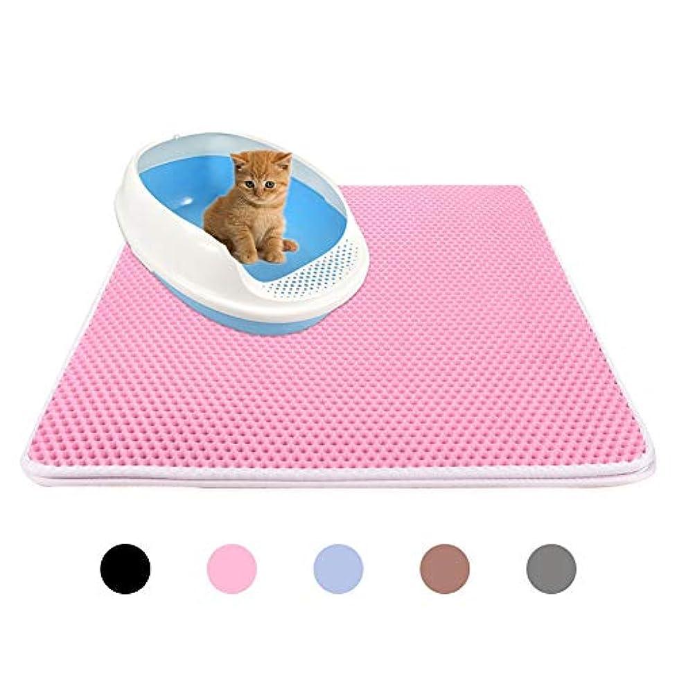 肩をすくめる説明的恥Kicat® 猫用トイレのパッド2層防水猫用トイレのマットペットフットマッサージパッド (XL: 55*75 cm, 002:ピンク)